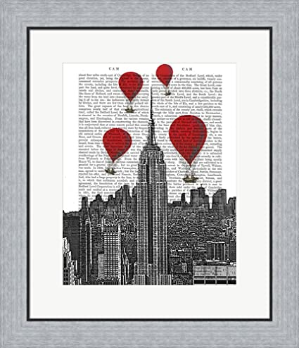 Amazon.com: Empire State Building and Red Hot Air Balloons by Fab ...