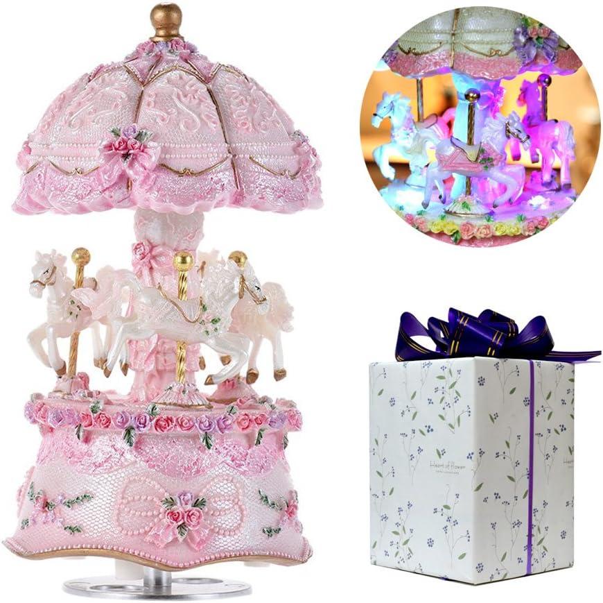 ACCOCO lujo color cambio LED luz luminoso giratorio 3-horse Carrusel Caballo Música Caja con exquisita caja de regalo Melody Carrying You From Castle In The Sky