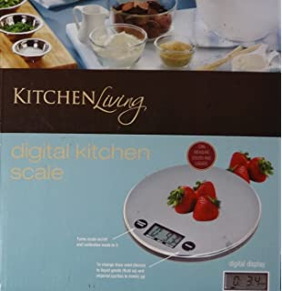 KitchenLiving Digital Kitchen Scale Stainless Steel Weighing Surface