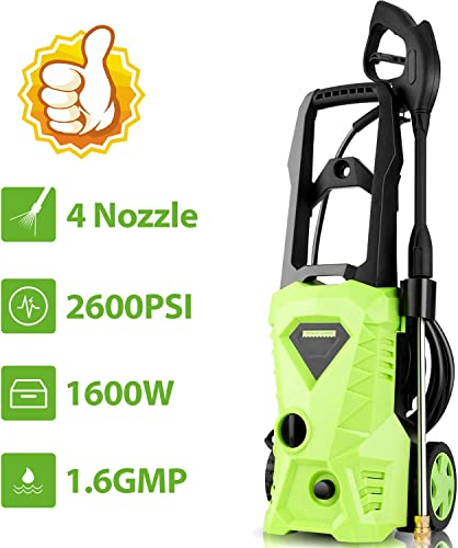 Homdox Electric Pressure Washer 2600 PSI 1.6 GPM Power Washer High Pressure Washer with Power Nozzle Gun and Spray Gun
