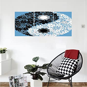 Liguo88 Custom Canvas Ying Yang Decor Wall Hanging Abstract Design Daisy  Flower Power On Asian Tao