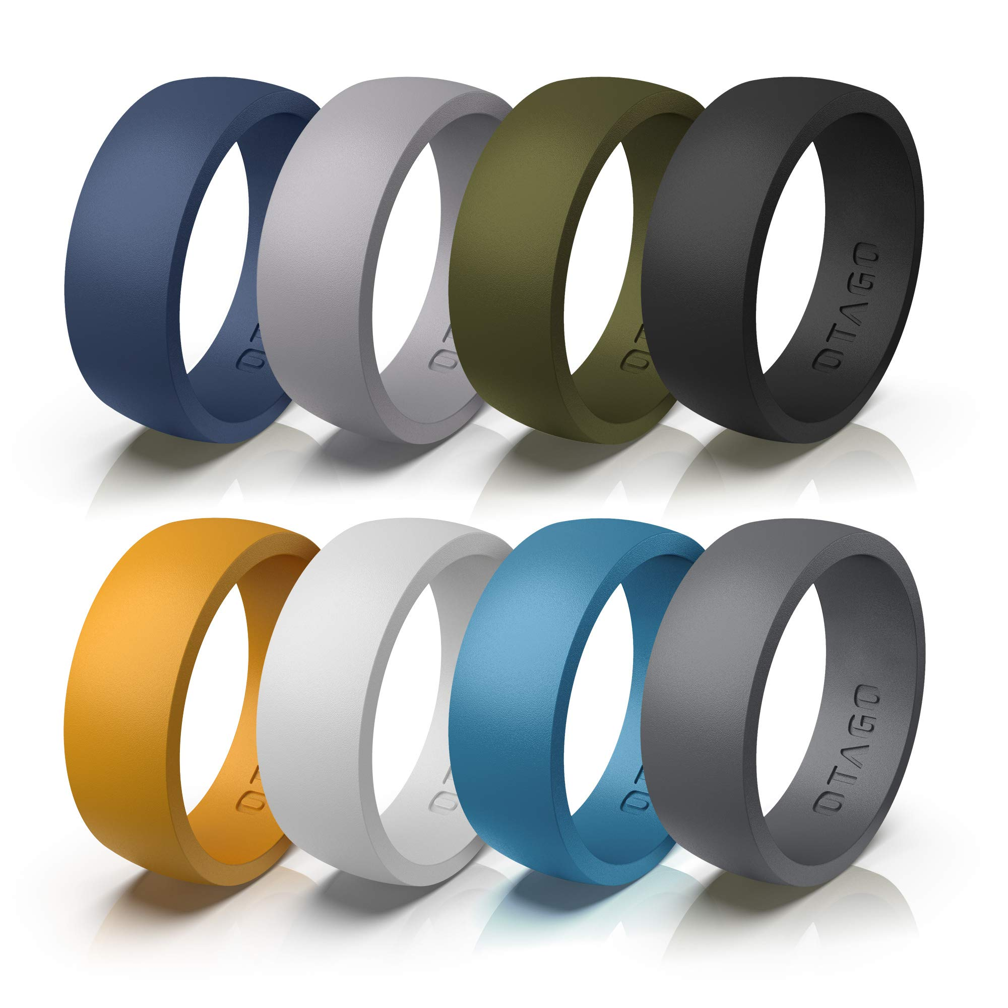 OTAGO Silicone Rings Wedding Bands for Women Men 8 Colorful Rings Soft and Safe for Sports Housework,Comfortable Fit,Fashion Adorable Wedding Ring Replacement(Size7-14)