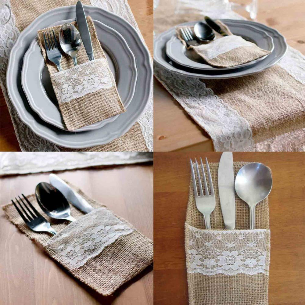 Amazon.com: Party Dishes Set Table Party 100pcs Burlap Wedding Tableware Pouch Disposable Dishes Fork Knife Holder Wedding Table Decoration: Toys & Games