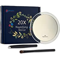 20x Magnifying Mirror with 3 Suction Cups, Use for Makeup Application, Tweezing, and Blackhead/Blemish Removal.Comes with 1PC Storage Bag, 1PC Tweezer, 1PC Reminder Card. 4Inches.