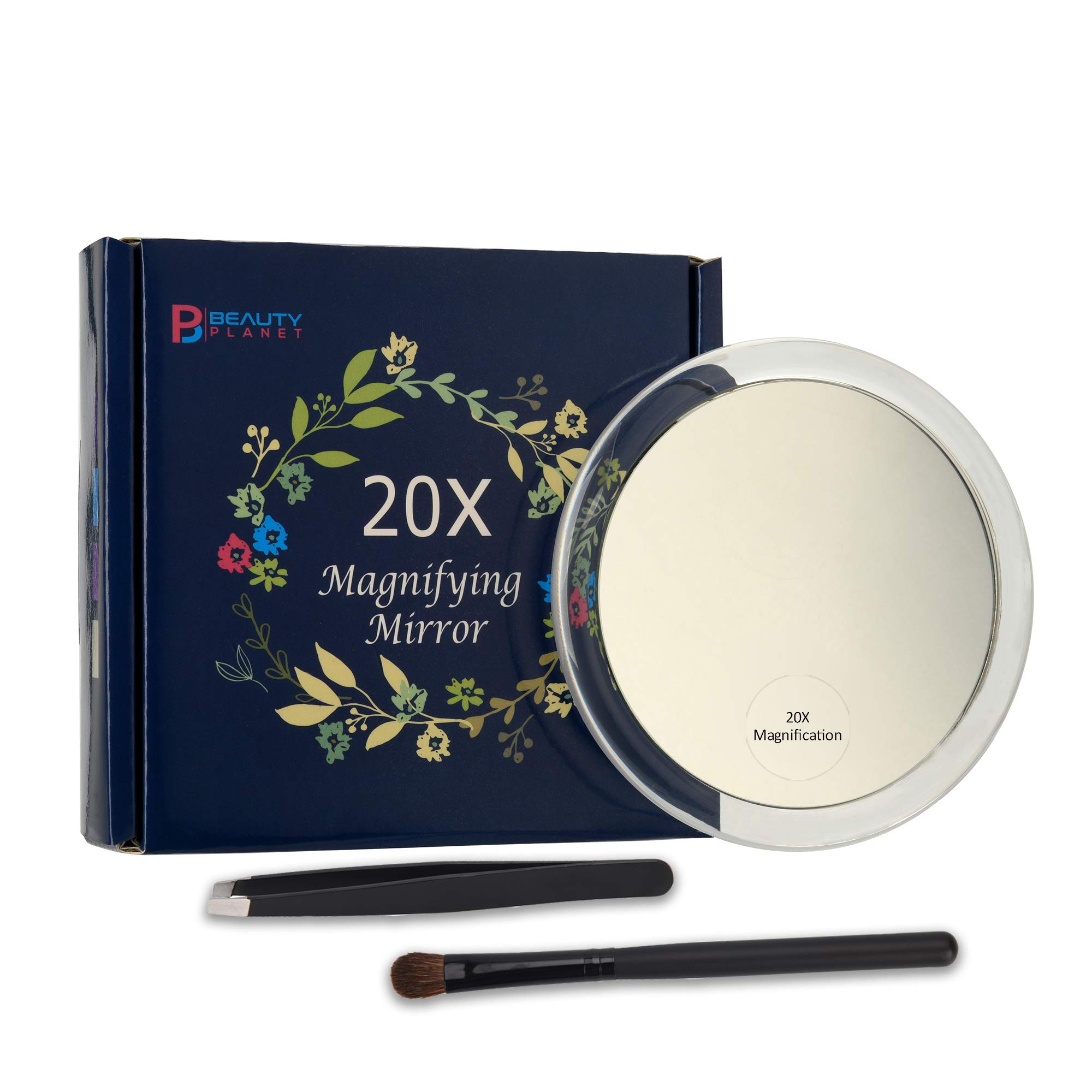 20x Magnifying Mirror with 3 Suction Cups, Use for Makeup Application, Tweezing, and Blackhead/Blemish Removal.Comes with 1PC Storage Bag, 1PC Tweezer, 1PC Reminder Card. 4Inches. by Beauty Planet
