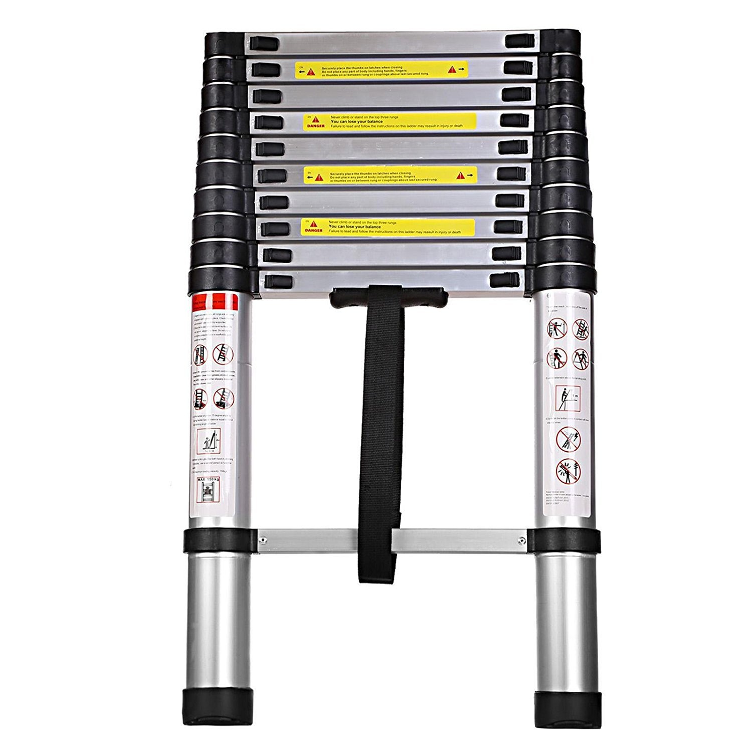 Kaluo Aluminum Telescopic Ladders Extension Ladder Multi-Purpose Collapsible Ladder 10 Steps-Max 330lbs Capacity