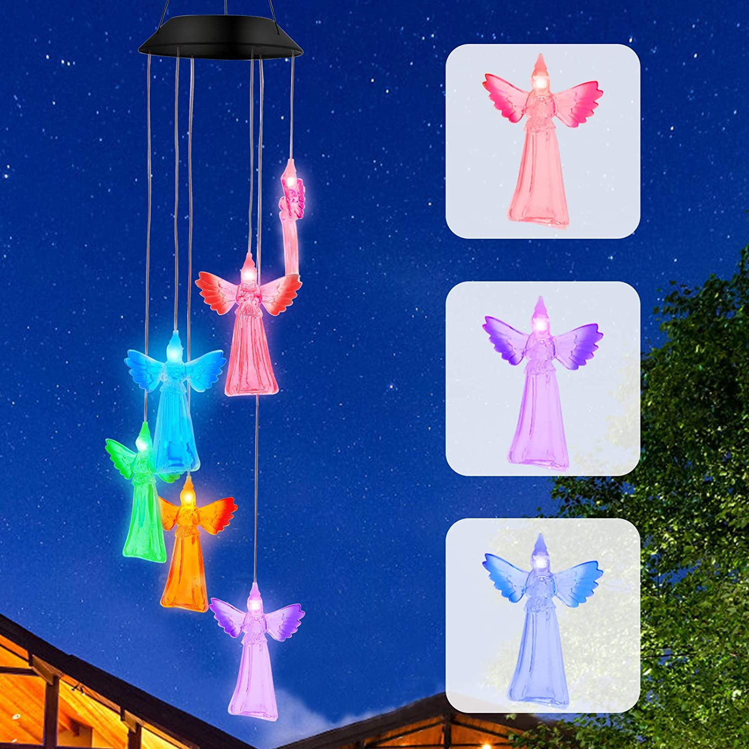 NICEAO Solar Wind Chimes, Solar Lights Outdoor Decorative Memorial Angel Led Windchimes Garden Decor for Yard Art Outdoor Patio Decorations, Small Gardening Gifts for Women Mom