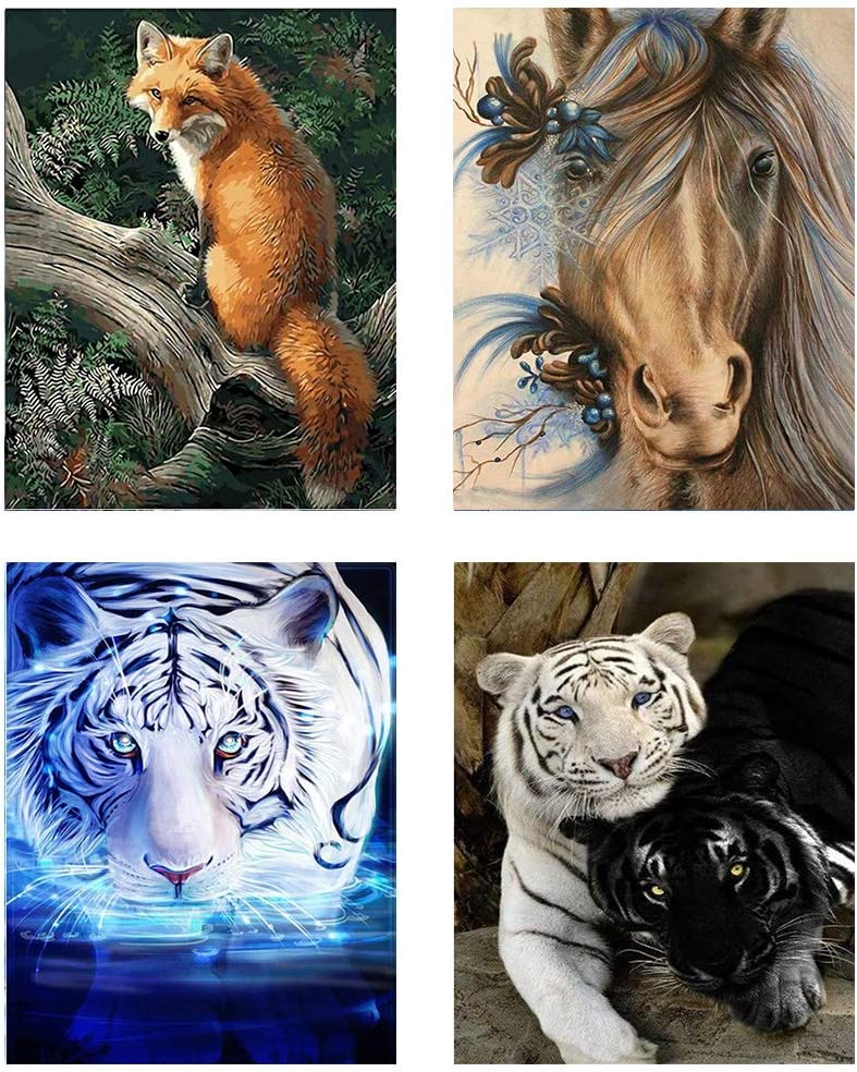Full Drill 5D Diamond Tiger Painting Embroidery Arts Craft DIY for Home Decor
