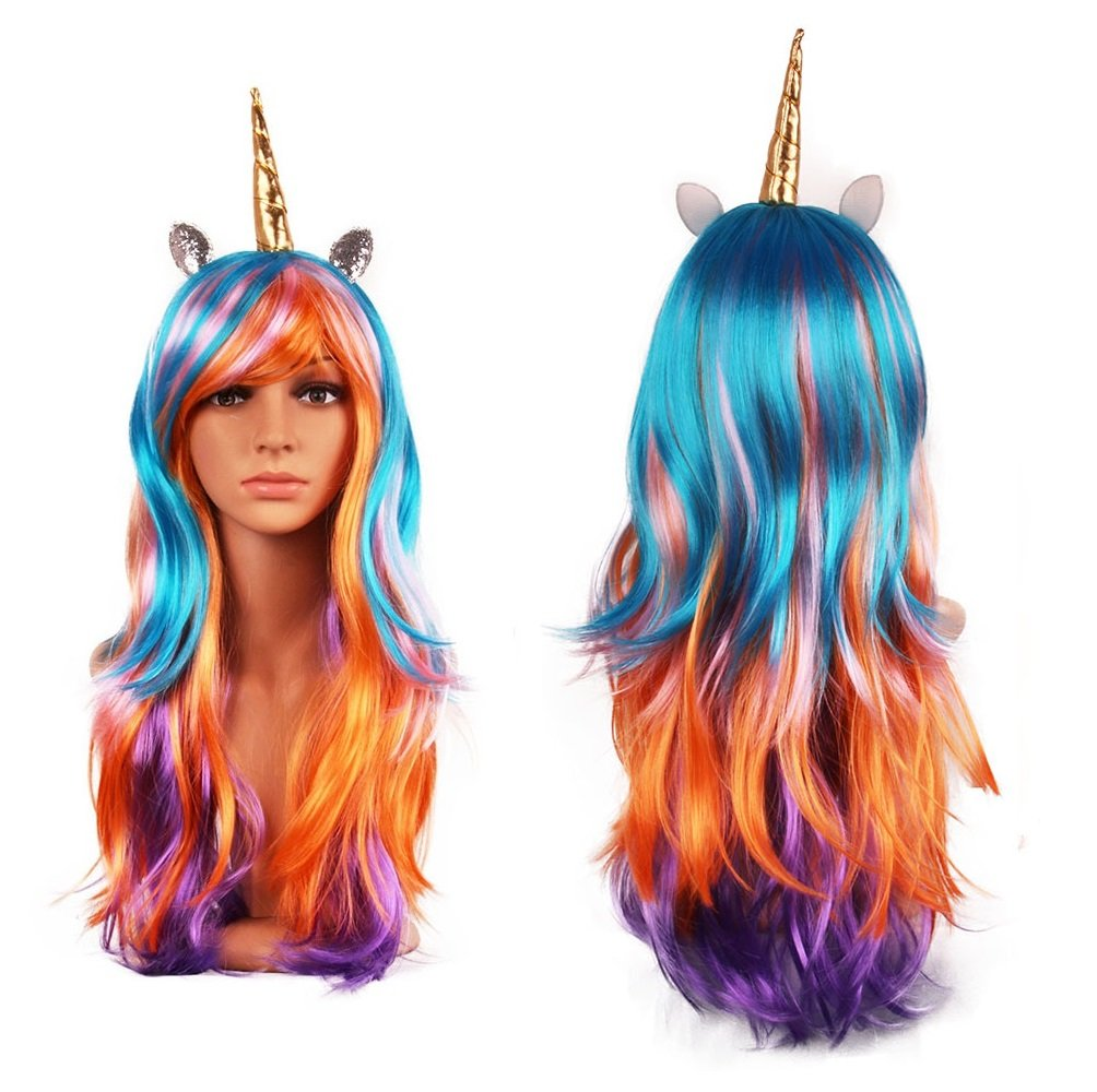 60544a020cde Details about Halloween Unicorn Wig Multi Color Costume Rainbow Wig With Unicorn  Horn And Ears