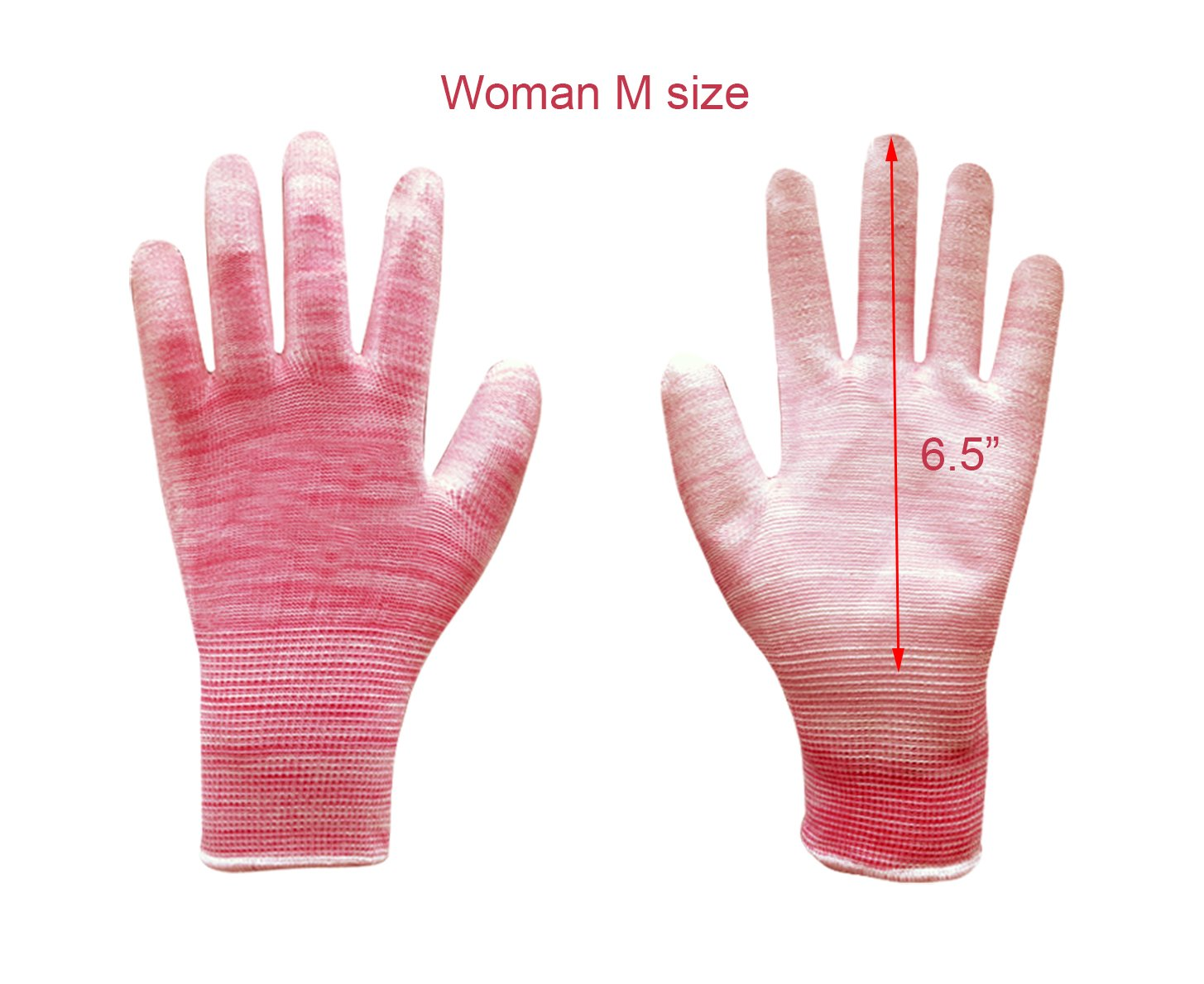 Wholesale pack of 240 pairs Polyurethane coated L size work gloves, High air permeability, Comfortable fit and Light. (Pink-M-240pairs)