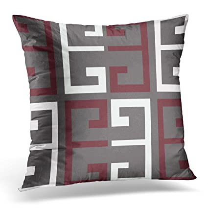 Amazoncom Torass Throw Pillow Cover Red Dark Gray Maroon And White