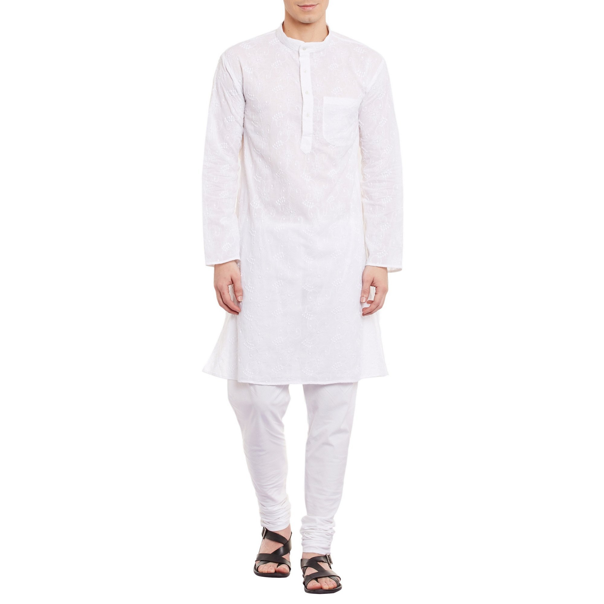 ShalinIndia Mens Embroidered Cutwork Cotton Kurta With Churidar Pajama Trousers Machine Embroidery,White Chest Size: 48 Inch