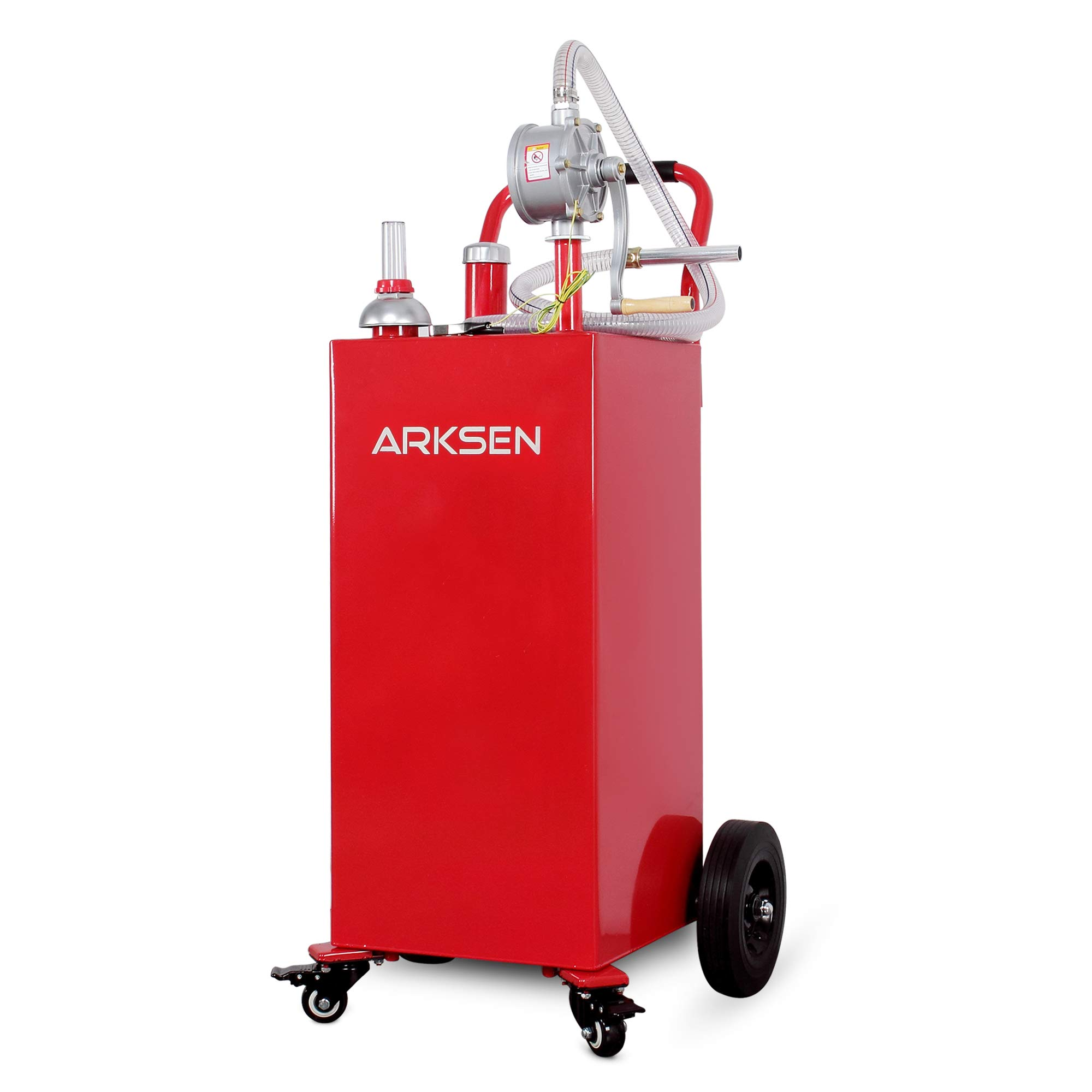Arksen 35 Gallon Portable Gas Caddy Fuel Storage Tank Large Gasoline Diesel Can Hand Siphon Pump Rolling Pneumatic Wheels Boat ATV Car Motorcycle by ARKSEN