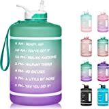 1 Gallon Water Bottle with Time Marker & Straw - 128 oz BPA Free Reusable Large Motivational Fitness Sports Water Bottle Leak