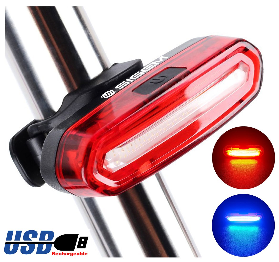 SIGEM BIKE TAIL LIGHT, HEADLIGHT, Ultra Bright & USB Rechargeable, Bicycle Flashing Rear taillight, LED Safety Warning Strobe Head Light, also for Helmet and Backpack 120 Lumens (Red-Blue)