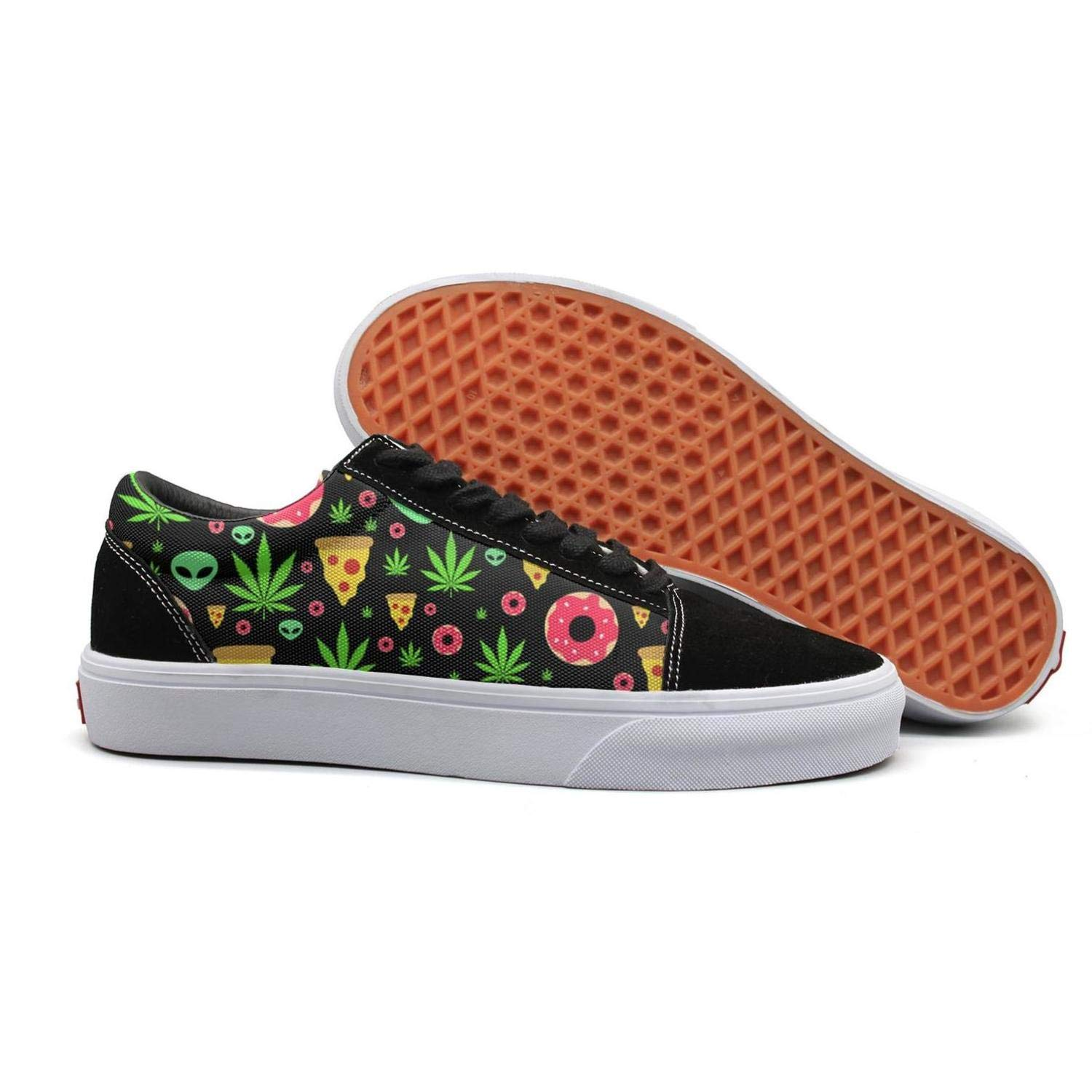 Weed Marijuana Alien 5.5 B(M) US Uieort Weed Marijuana Alien Donut Womens Lace up Loafers shoes Fashion