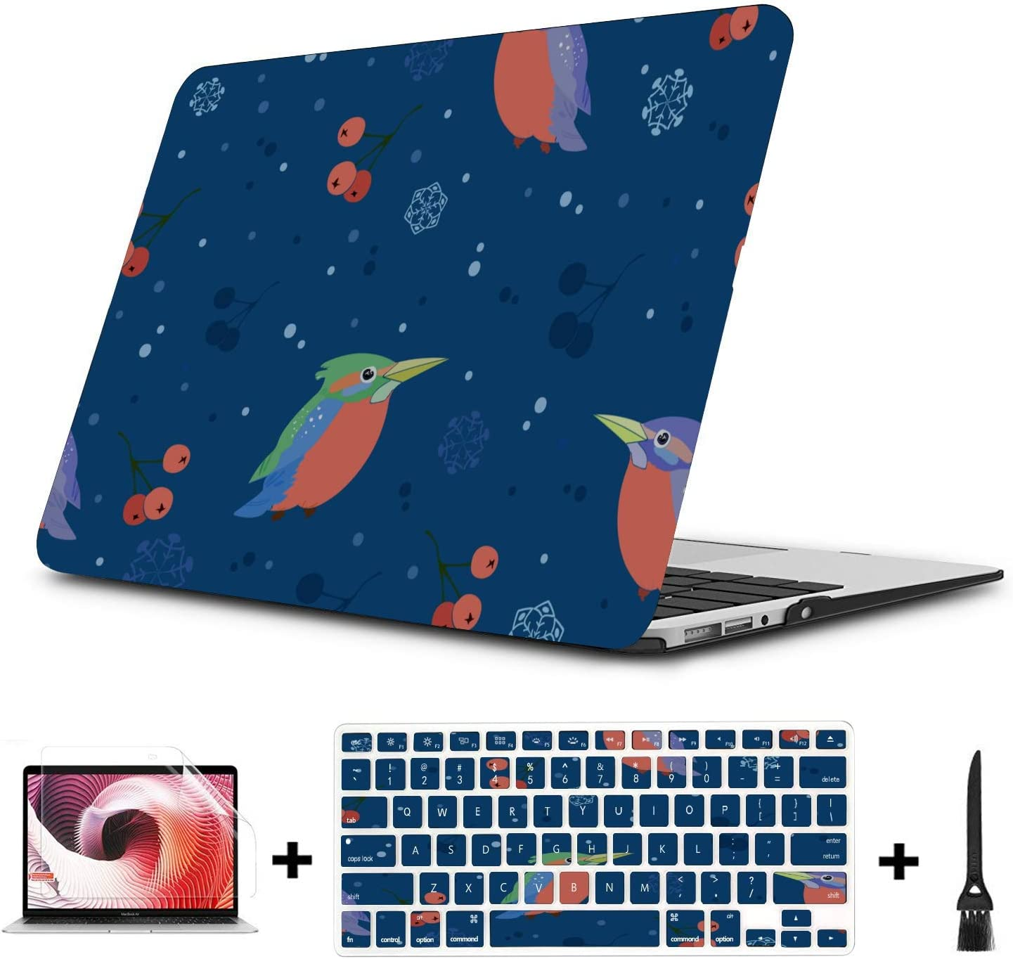 MacBook Pro Accessories Spring Cute Ostrich Flower Green Leaf Plastic Hard Shell Compatible Mac Air 11 Pro 13 15 MacBook Cases Protection for MacBook 2016-2019 Version