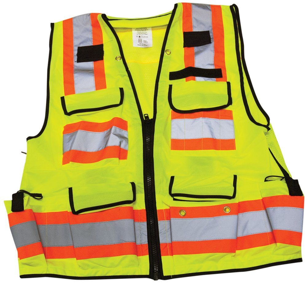 Ironwear 1278FR-L-03-LG ANSI Class 2 Flame Retardant Polyester Surveyor SAFETY Vest with 2'' Silver Reflective Tape, Lime, Large