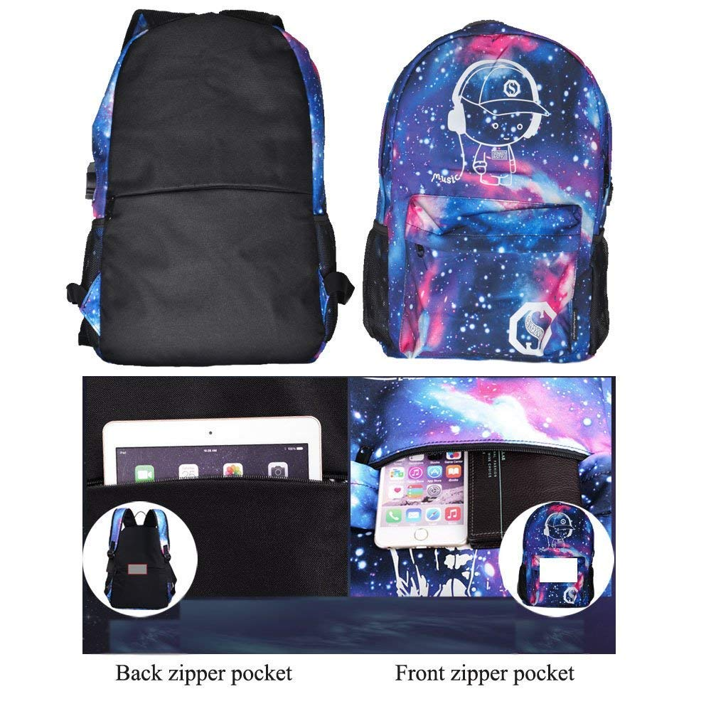 Luminous Backpack with USB Charging Port and Anti-Theft Lock & Pencil Case, Sky Anime Cartoon Unisex Casual School Daypack Bookbag Travel Laptop Backpack by ZWWZ (Image #4)