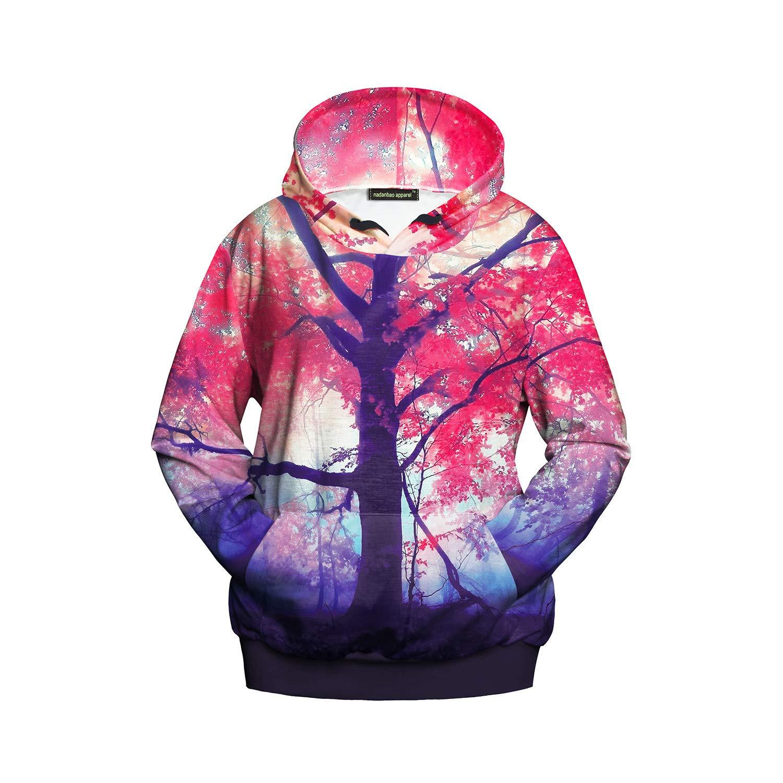 Mrsrui Women Casual Long Sleeve Hoodie Pullover Sweatshirt - 3D Graphic Printed Pink by Mrsrui