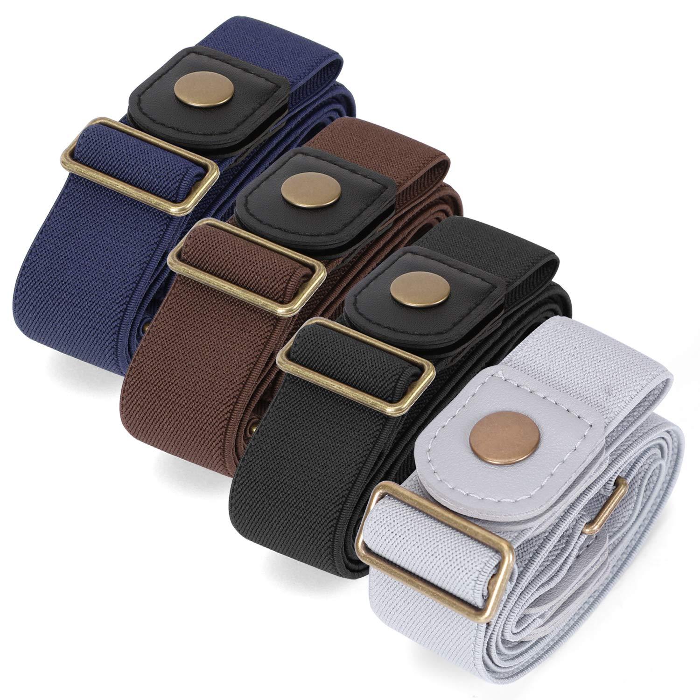 nobuckleinvisible stretch belt buckle-freeelasticbelt for women 4 pack
