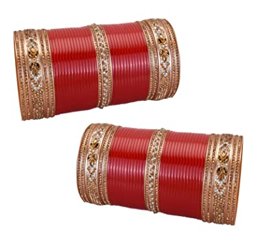 Engagement & Wedding 2.4 S Bollywood Bangles Bracelet Indian Punjabi Bridal Jewellery Chura Red D8 Year-End Bargain Sale Jewelry & Watches