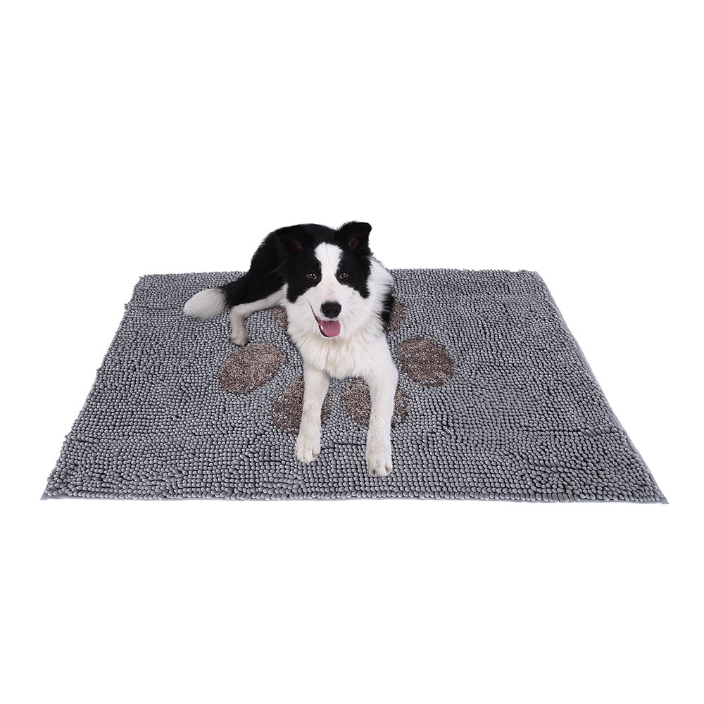 Ultra Absorbent Microfiber Chenille Dog Door Mat Cage Mat Washable and Durable Pet Mat Quickly Drying Anti Slip Backing Super Strong Absorbent Prevent Mud Dirt