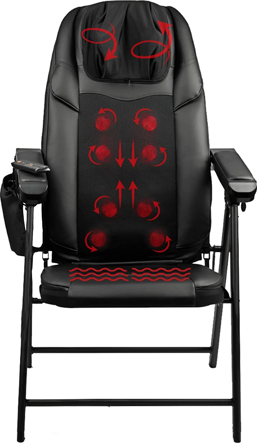 Shiatsu Massage Folding Chair with Heat - Features 8 Deep Kneading Rollers, 3 Vibration Settings, USB Port - Adjustable Seat Massager for Back, Neck and Shoulder Muscle Pain Relief
