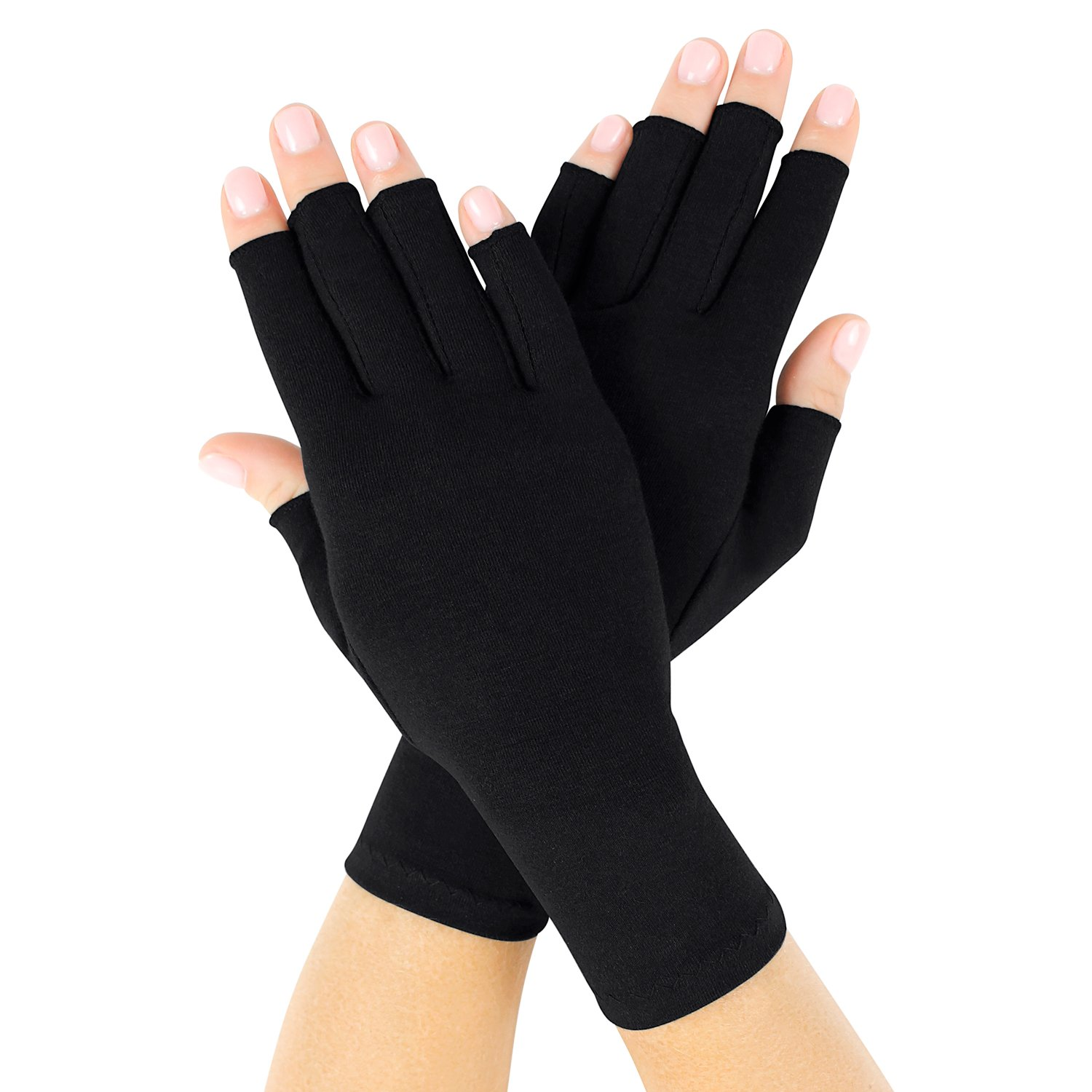 Vive Arthritis Gloves - Compression Gloves for Rheumatoid & Osteoarthritis - Black Hand Gloves Provide Arthritic Joint Pain Symptom Relief - Men & Women - Open Finger (Large)