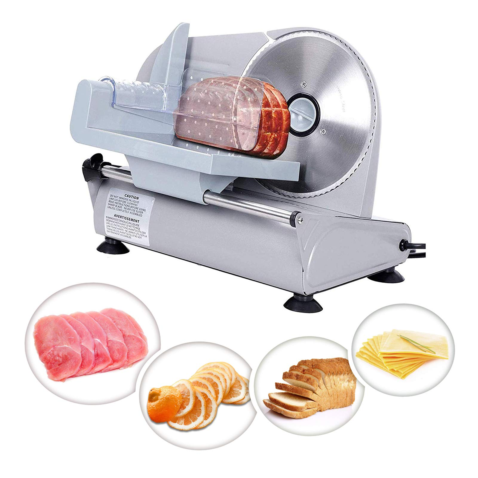 ZENY Professional Stainless Steel Electric Meat Slicer Food & Vegetable Cutter with Removable 7.5'' Blade - Adjustable Knob for Thickness - Anti Slip Rubber Feet - Sliver (7.5'')