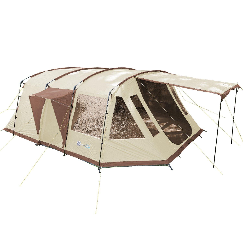 Skandika Nordland 6-Personen Familien/Tunnel Campingzelt, mit fest eingenähtem Zeltboden, 200 cm Stehhöhe, 5000 mmWassersäule