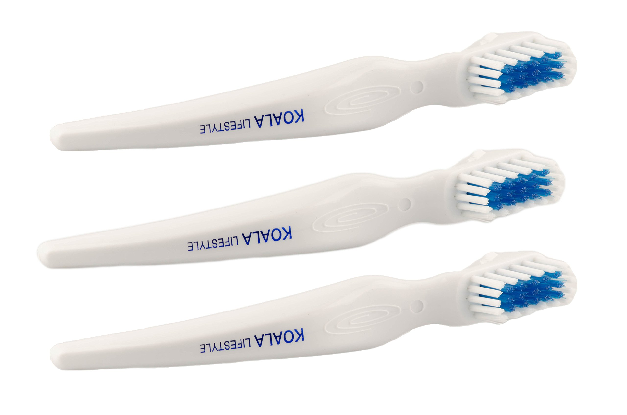 Koala Lifestyle Denture Cleaner Brushes with Covers | Cleaning Toothbrush for Dentures, False Teeth, Night Guards for Teeth Grinding, Dental Devices, and Mouth Guards | 3 Pieces, White/Blue