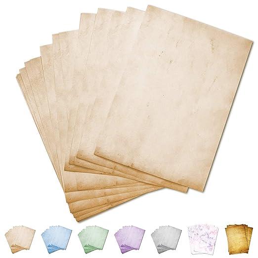 Partycards Papel de Escribir | 50 Hojas |Mármol Beige|Formato DIN A4 (21,0 x 29,7 cm)|Gramaje 90 g/m² |impresión a Doble Cara, Adecuada para Todas Las ...