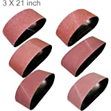 M-jump 18 PCS 3 inch x 21 inch Aluminum Oxide Sanding Belt(3 Each of 60 80 120 150 240 400 Grits)(3x21in)