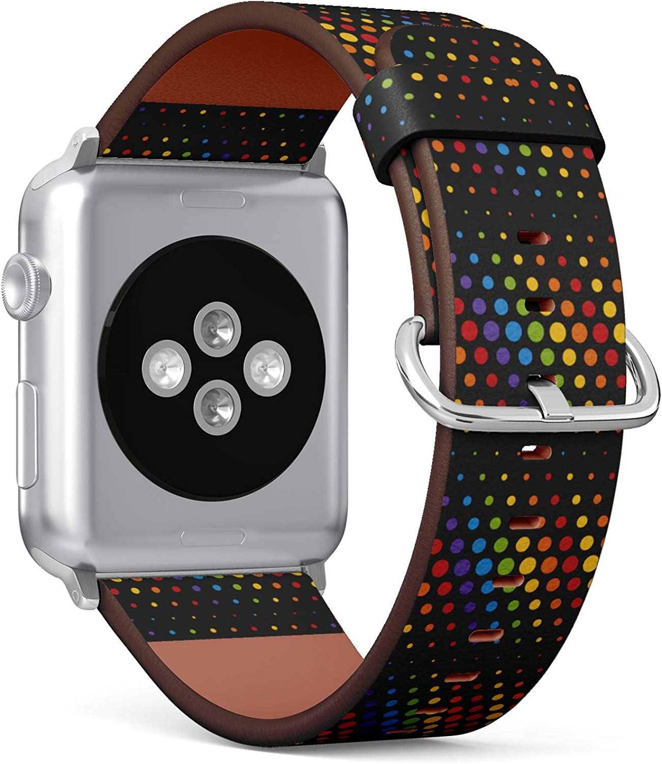 LGBT Pride Rainbow Polka Dots - Patterned Leather Wristband Strap Compatible with Apple Watch Series 4/3/2/1 42mm/44mm
