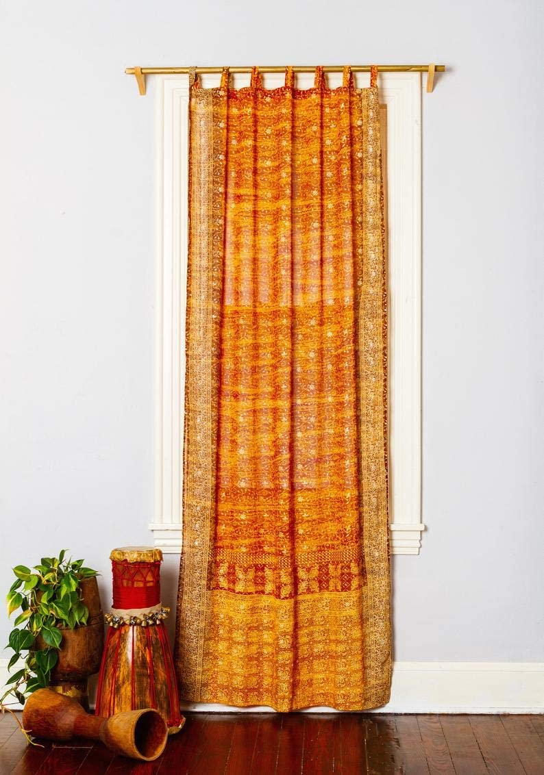Padmini Boho Curtain Colorful Window Treatment Draperies Indian Sari Panel 108 96 84 inch for Bedroom Living Room Dining Room Kids Teens Canopy Boho Curtains Silk Bag Gold Yellow, 42 W x 96 L