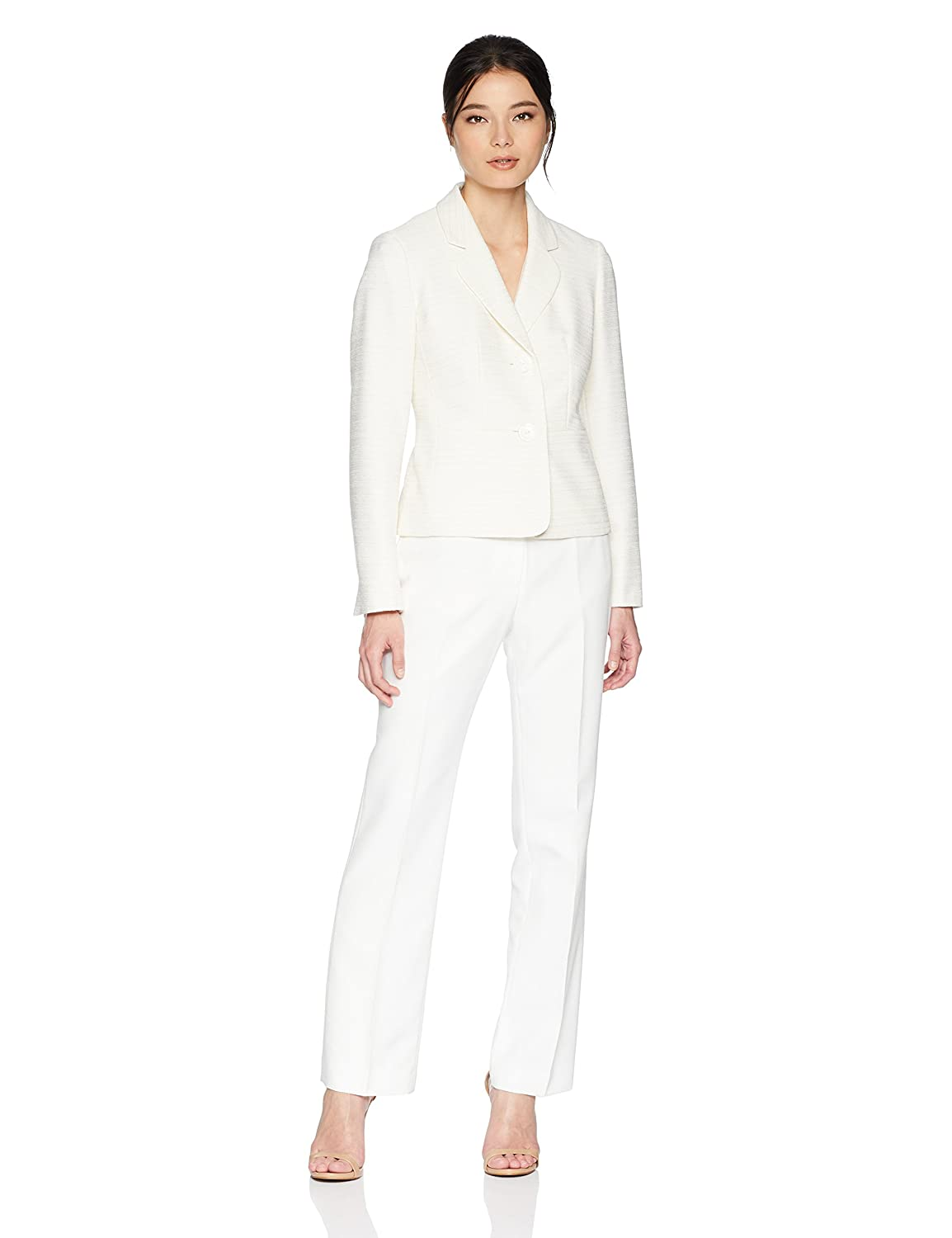 Light Taupe Lily White LeSuit Womens Petite Tweed 2 Button Notch Collar Pant Suit Business Suit Pants Set