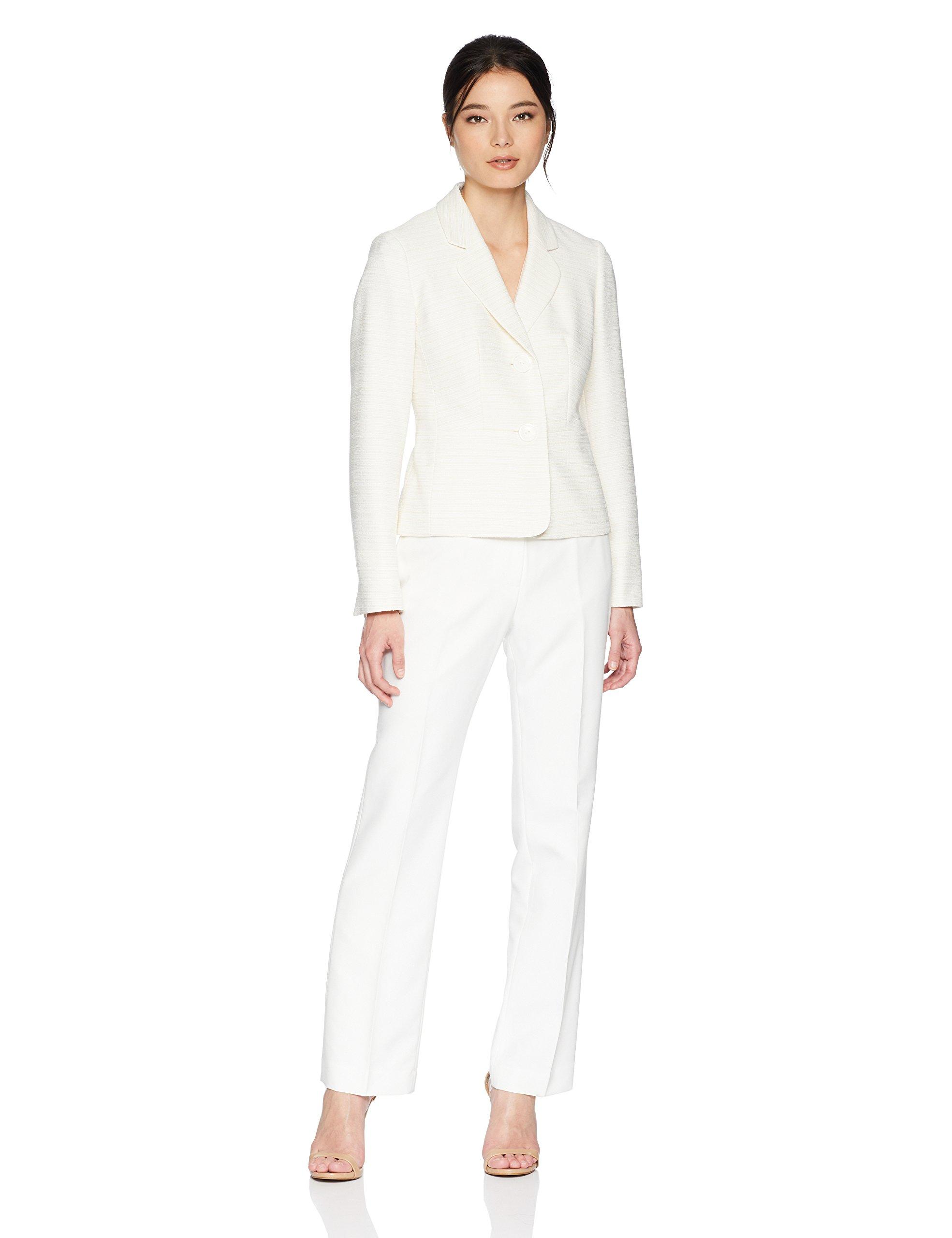 Le Suit Women's Petite Tweed 2 Button Notch Collar Pant Suit, Light Taupe/Lily White, 10P