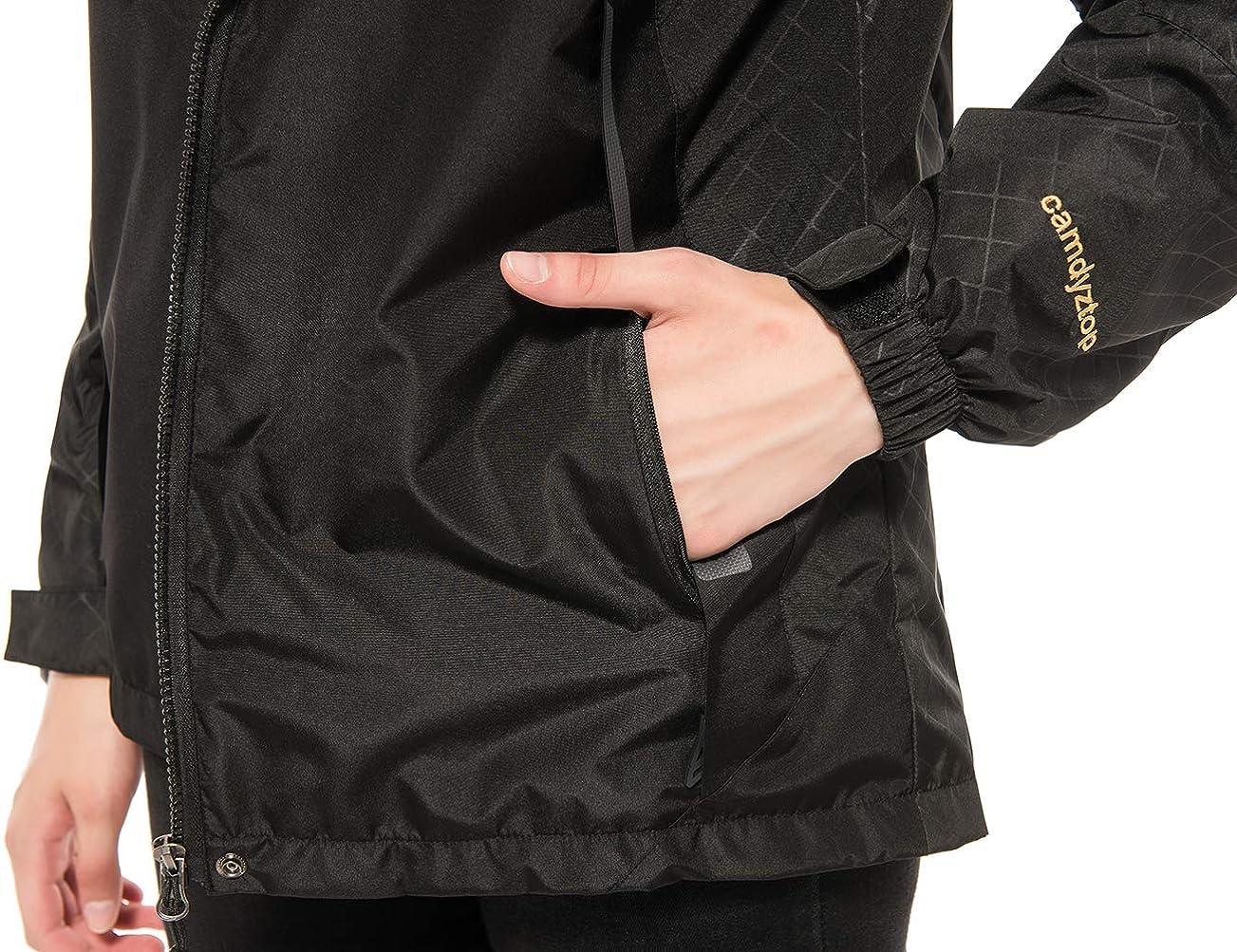 Diamond Candy Womens Waterproof Jacket Outdoor Hooded Raincoat