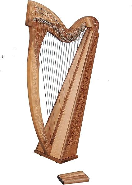 Muzikkon 29 String Boru Arpa In Legno Di Noce Celtica Irlandese Arpa Arpa Irlandese Di Leva Amazon It Strumenti Musicali E Dj