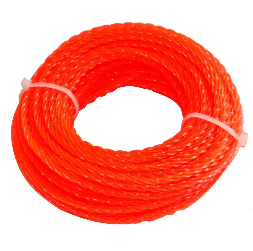 Aerzetix - Profilo quadrato filo contorto rosso di nylon 2.4 mm 15m per tagliaerba taglierina trimmer decespugliatore C18552-AZ39