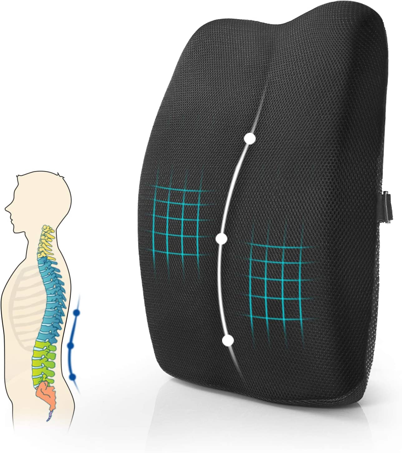 Mkicesky Lumbar Support Back Pillow For Office Chair Car Memory Foam Back Support Cushion With Full Posture Corrector Relief Lower Back Pain Black Amazon Ca Office Products
