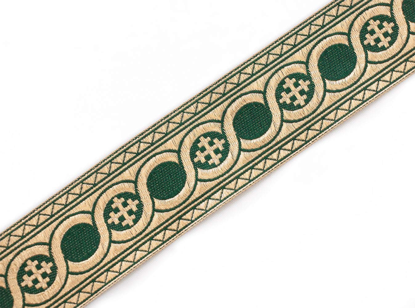 21//4 Wide Forrest Green Gold Jacquard Vestment Trim Cross Celtic Scroll 3 Yds