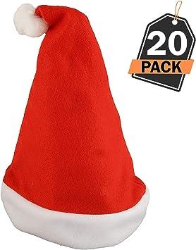 20 Sombreros de Santa Claus - Gorros Rojos de Papá Noel para Celebración de Navidad – Accesorio para Disfraz – Articulo para Fiesta de Cena o Fiesta de Disfraces de Temporada Navideña: