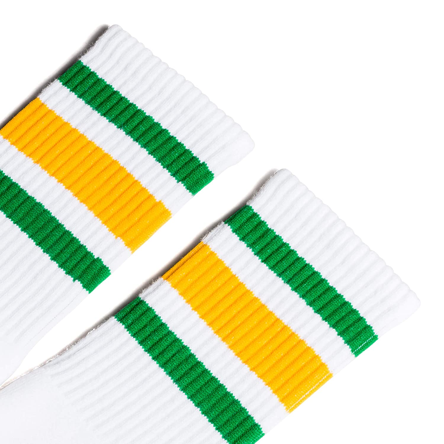 Large//X-Large 10-13 Socco Socks Unisex White Triple Striped Green//Gold Crew Tube Socks
