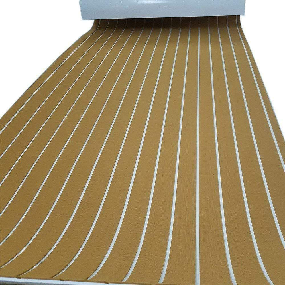 90 x 240 x 0.6 cm Schaum Teak YUNRUX Schiff Yacht Bodenbelag Form EVA Schaum Matte Fu/ßboden Kunst Teak Deck Pad Self-adhesive Hellbraun