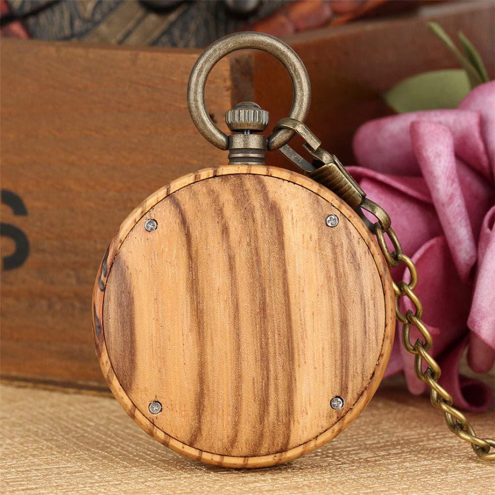 ZYZED fickur retro mode helt trä kvarts fickur brunt trä klocka fodral halsband brons hänge klocka kedja Trä