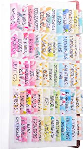 100PCS Colorful Bible Tabs Large Print, Cute Bible Journaling Supplies for Women and Kids, 66 Book Tabs and 34 Blank Tabs for Indexing, Study Old and New Testament