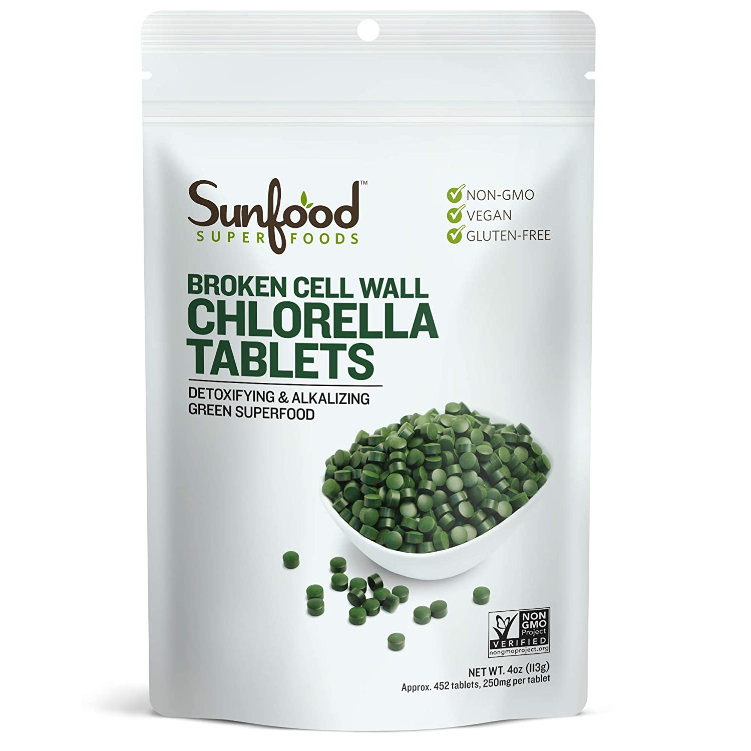 Sunfood Chlorella Tablets, 4 Ounces, 450 Count