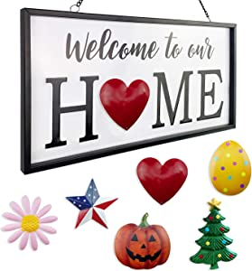 Welcome to Our Home Sign Decor with 6 Interchangeable Holiday Icons - Metal Seasonal Signs Wall Hanging Front Door Porch Outside Garden Decoration Spring Valentines Easter Independence Day